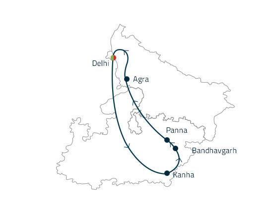 Delhi-Agra-Panna-Bandhavgarh-Kanha