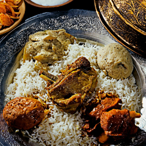 A royal wazwan feast in Kashmir